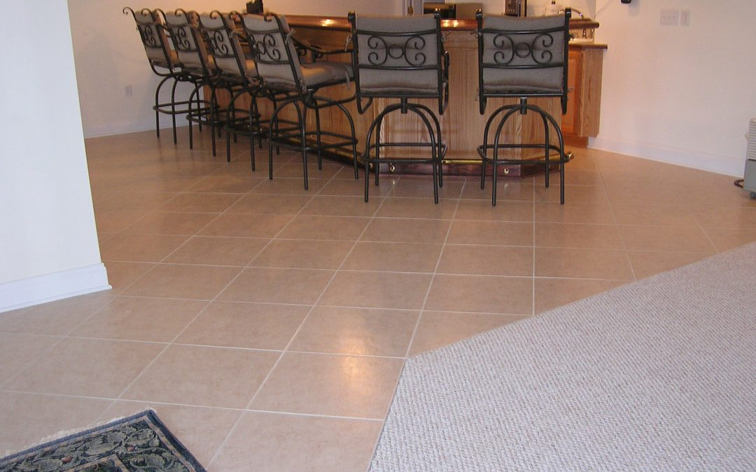 Basement Wet Bar Tile Floor in Cuyahoga Falls, Ohio