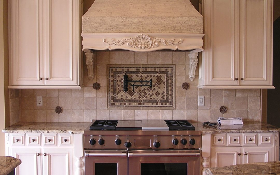 Travertine Tile Backsplash in North Canton, Ohio