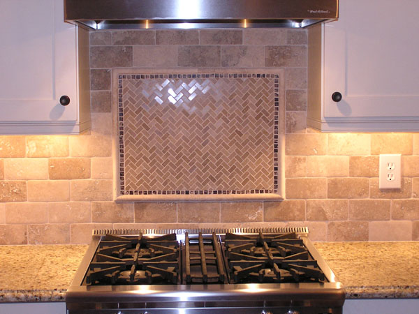 Travertine Subway Tile Backsplash in Cuyahoga Falls, Ohio