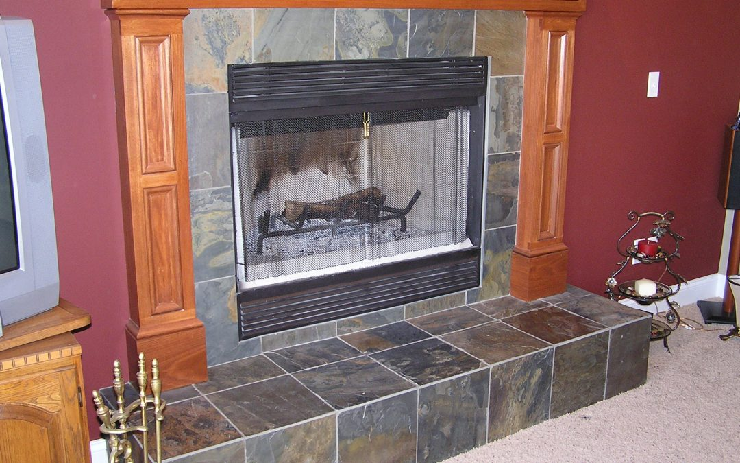 Slate Tile Fireplace in Cuyahoga Falls, Ohio