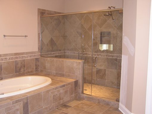 Master Bathroom Custom Tile Shower and Tub Deck in Cuyahoga Falls, Ohio