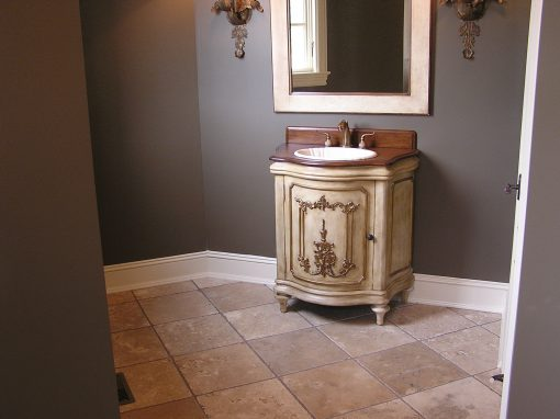 Tumbled Travertine Tile Floor in North Canton, Ohio