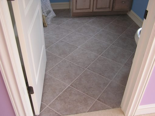 Diagonal Porcelain Tile Bathroom Floor in North Canton, Ohio