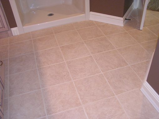 Basic Porcelain Tile Bathroom Floor in North Canton, Ohio