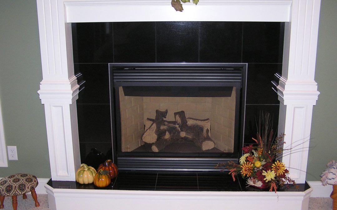 Black Granite Tile Fireplace in Cuyahoga Falls, Ohio