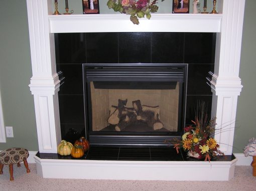 Black Granite Tile Fireplace in Cuyahoga Falls, Ohio