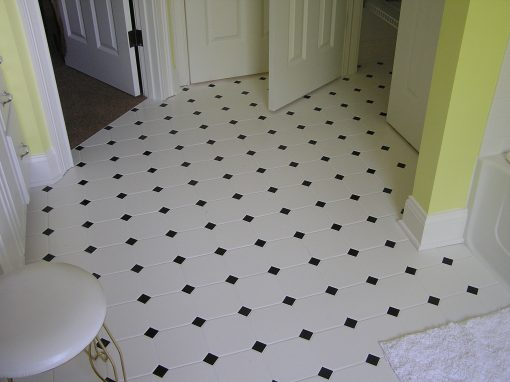 White Floor Tile with Black Inserts in Fairlawn, Ohio