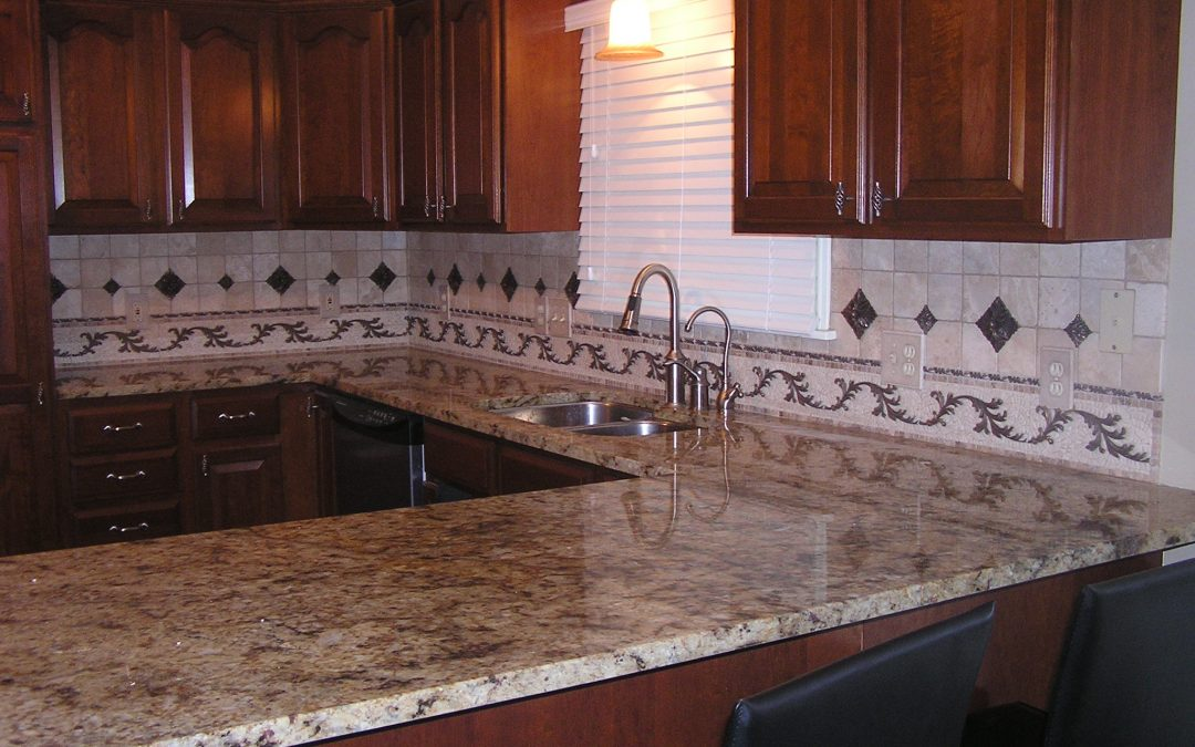 Travertine Backsplash with Copper Insets in Stow Ohio