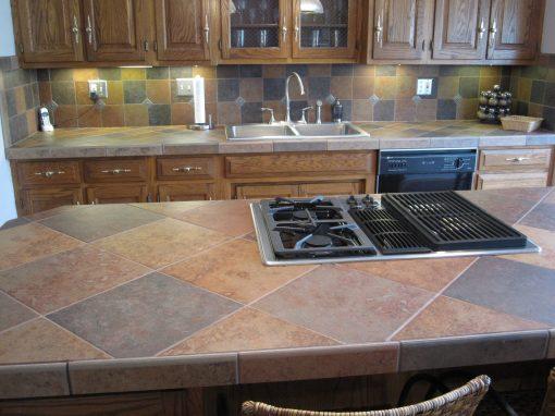 Porcelain Tile Countertops and Matching Backsplash in Bath, Ohio