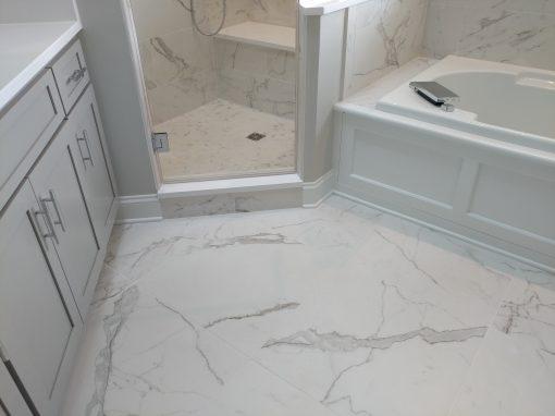 Calacatta Porcelain and Heated Tile Floor in Kent, Ohio