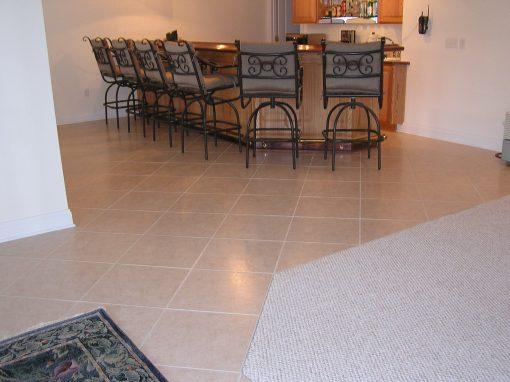 Basement Wet Bar Tile Floor in Cuyahoga Falls, Ohio