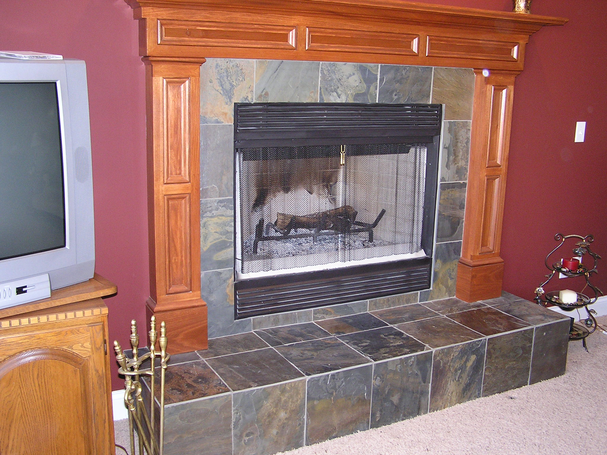 Slate Tile Fireplace In Cuyahoga Falls