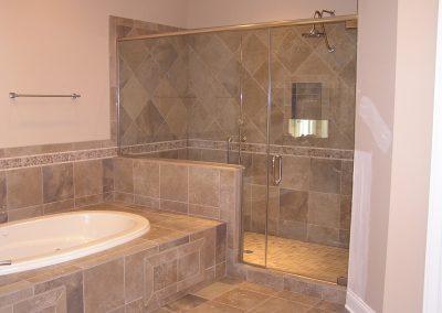 Master Bathroom Custom Tile Shower and Tub Deck in Cuyahoga Falls, Ohio