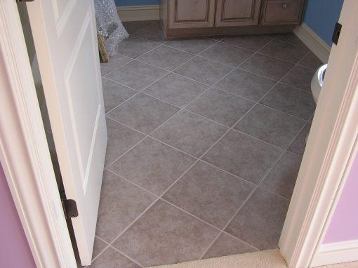 Diagonal Porcelain Tile Bathroom Floor in North Canton, Ohio