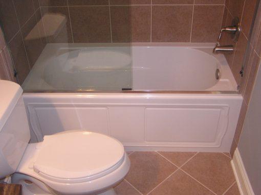 Ceramic Tile Tub Surround and Bathroom Tile Floor in Stow, Ohio