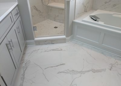 Calacatta Porcelain and Heated Tile Floor in Kent, Ohio