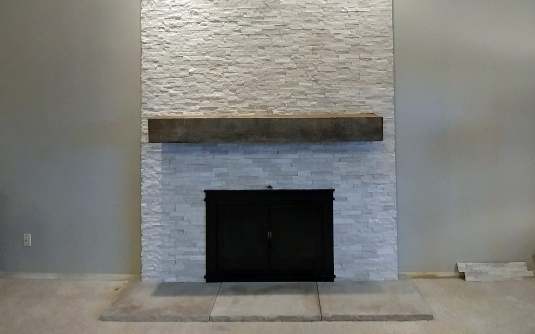 Stacked Stone Fireplace in Stow, Ohio